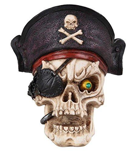 stealstreet ss-g-44067, cremefarben und schwarz Skelett Totenkopf durchbrochen Pirat mit Augenklappe Figur, rot (Piraten-totenkopf-dekor)