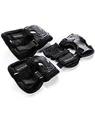 Meteor Protezione Set per Bambini Kit Protettivo di Ginocchiere Polsiere Gomitiere per Skateboard Bicicletta Roller Pattini Pattinaggio in Linea Scooter Rotelle Quad Skate Hoverboard (L, Nero)