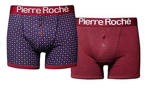 Pierre Roche -  Boxer  - Uomo BUTTON FRONT RED/BLUE DOT