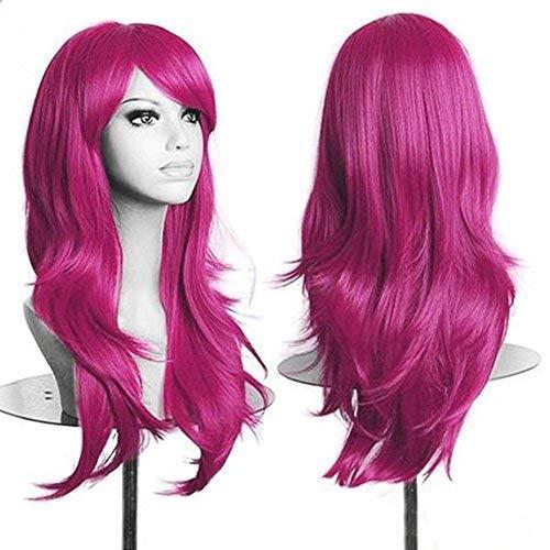 Parrucca rosa lunga da donna cosplay halloween con frangia capelli mossi sintetici wig riccia per travestimento feste carnevale 58cm - rosa scuro