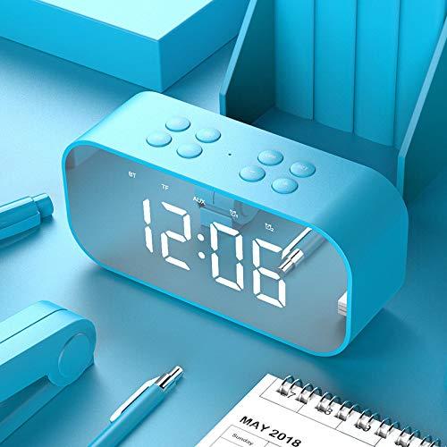 JHJX Bluetooth-Lautsprecher LED Wireless Uhr-Alarm Anzeige Bluetooth-Lautsprecher - TF-Karte - Radio Computer-Lautsprecher,Blue