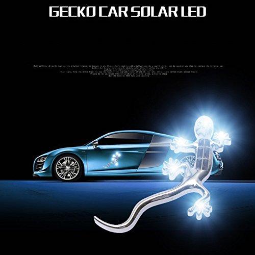 ZHRUXI Auto Gecko Autoaufkleber, Solarenergie LED Blitz, Auto Kollision Heck Warnlicht, Gecko 3D Dreidimensional Einfügen
