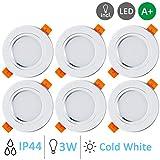 Gr4tec 6 Focos Led Empotrables Techo Blanco, 3W Downlight Plafón Luz de Techo Blanco Frío 6000K 300lm IP44...