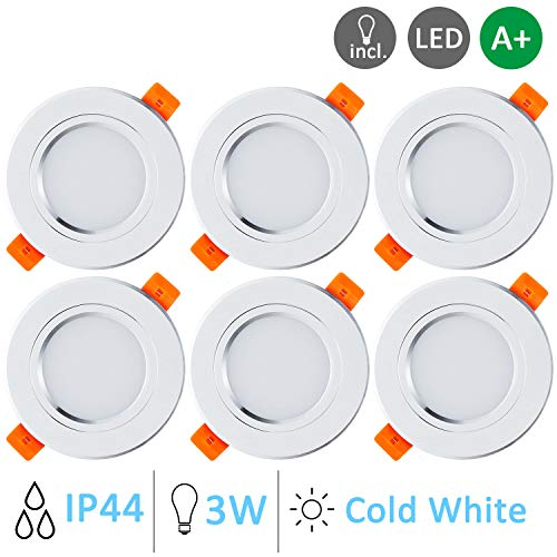 Gr4tec 6 Focos Led Empotrables Techo Blanco, 3W Downlight Plafón Luz de...