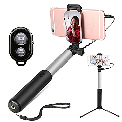 Mobile Phone Tripod,Selfie Stick, Extendable Handheld Monopod Selfie Stick + Mini Tripod Stand, Rear Mirror, Bluetooth Remote Control Camera Shutter?Applies To A Variety Of Smart Phones , silver