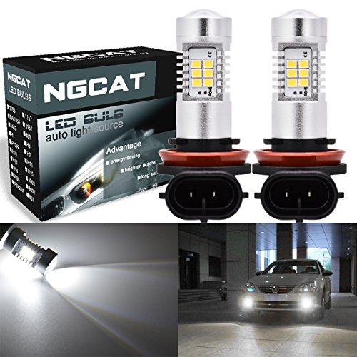 NATGIC 2pcs H11 Autolampe H8 H9 DRL Nebelscheinwerfer Ersatz 2835 21 SMD Chipsätze Birnen mit Linsenprojektor Autofahren Tagfahrlicht, Xenon Weiß, 10-16 V 10,5 Watt