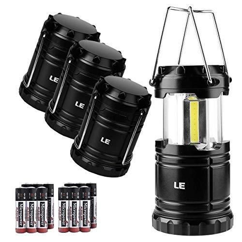 Lighting EVER LE Farol Lámpara de Camping, 350lm COB LED Linterna Acampada portátil Plegable, Luz de Emergencia, Pesca, Exterior e Interior, Pack de 4, Baterías Incluidas