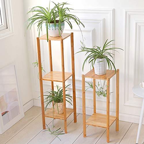 JCOCO Bambou Fleur Cadre Multi-couche Creative Salon Rack Balcon Orchidée Fleur Pot Étagère Étage Fleur Stand Simple (Couleur : Couleur du bois, taille : 65cm)
