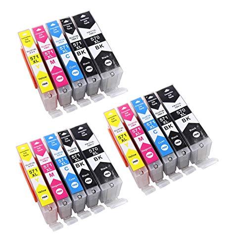 15 Druckerpatronen mit Chip kompatibel zu Canon PGI-570 CLI-571 für Canon Pixma MG5750 MG5751 MG5752 MG5753 MG6850 MG6851 MG6852 MG6853 TS5050 TS5051 TS5053 TS5055 TS6050 TS6051 TS6052 MG7750 MG7751