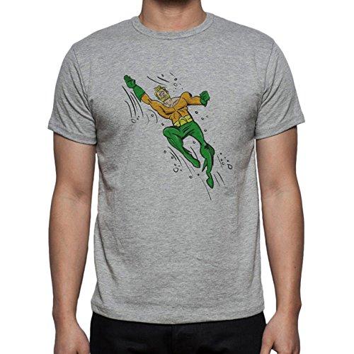 Aquaman Superhero DC Comics Swimming Drawn Herren T-Shirt Grau