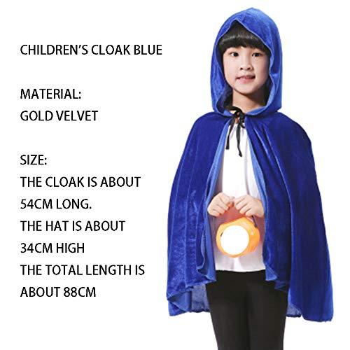 qys Halloween-Umhang Cosplay Weihnachtskostüm Langer Mantel des Todes Zauberer Hexe Prinz Prinzessin Umhang(Blue,88cm)