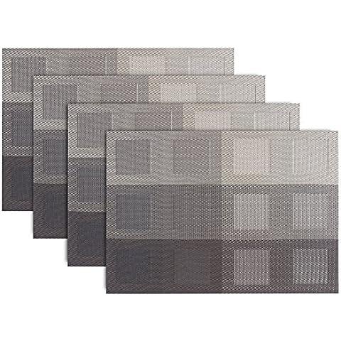 Angelbubbles Manteles Individuales Antideslizante de PVC de Aislamiento máx 300 ° F natural del diseño simple de 45 * 30 cm Conjunto de 4