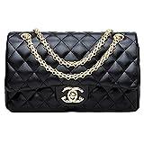 Damen Handtaschen Crossbody Taschen Kette Schultertaschen Fashion Mini Bags28x16x8 (Black3, One size)