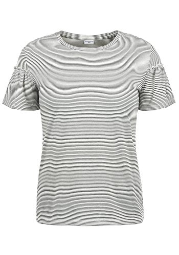 ONLY Linn Damen T-Shirt Streifenshirt Kurzarm Shirt Mit Rundhalsausschnitt Und Volantärmel, Größe:M, Farbe:Cloud Dancer
