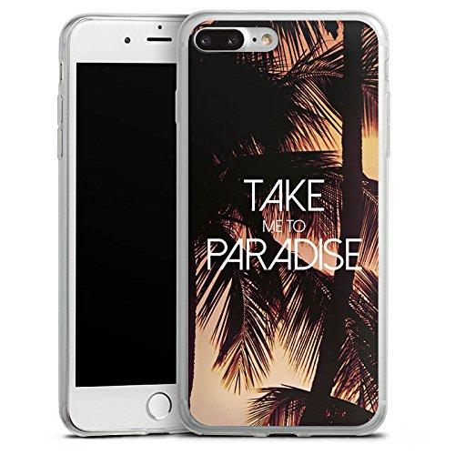 Apple iPhone 8 Plus Slim Case Silikon Hülle Schutzhülle Palmen Urlaub Sommer Silikon Slim Case transparent