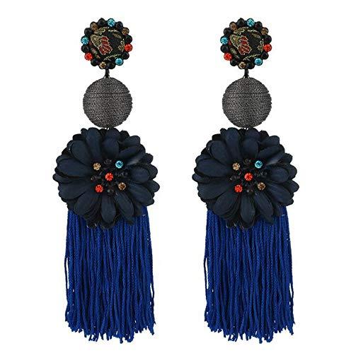 inge Blume Lange Quaste Ohrringe Diamant Anhänger Sonnenblume Ohrringe,Blue ()