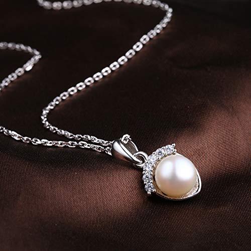 XAYN Perle Anhänger Halskette Schmuck 925 Silber Diamant Sterling Silber Schlüsselbein Kette Damen Wilde Halskette Sommer Schlüsselbein Kette Kleine Frische Halskette Zubehör - Klar Finish-schrank