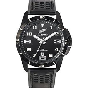 All Blacks680271-Reloj de hombre, movimiento de cuarzo, analógico,esfera negra, correa de piel negra de All Blacks