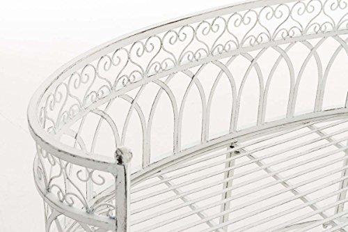CLP Metall-Gartenbank AMANTI mit Armlehne, Landhaus-Stil, Eisen lackiert, Design antik nostalgisch, Form oval ca. 110 x 55 cm Antik Weiß - 4