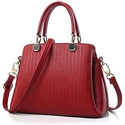 DcSpring Bolso de Mano PU Piel Bolso Bandolera Vintage Shopper Bolso de hombro Elegante para Mujer (Rojo Vino)
