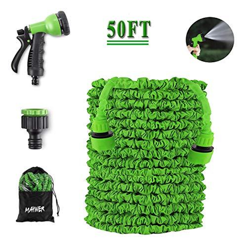 Bienser Flexibler Gartenschlauch 15m, Wasserschlauch flexibel dehnbarer gartenschlauch mit 8 Modi Handbrause, Adapter und Aufhänger, für Bewässerung Gartenarbeit Autowäsche