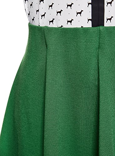 oodji Ultra Damen Ausgestellter Jersey-Rock Grün (6E00N)
