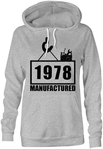 Manufactured 1978 - Hoodie Kapuzen-Pullover Frauen-Damen - hochwertig bedruckt mit lustigem Spruch - Die perfekte Geschenk-Idee (05) grau-meliert