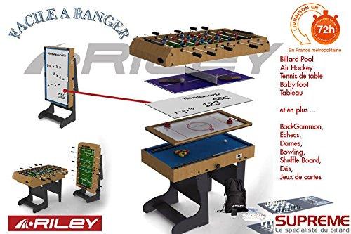 Riley - Billard Multi Jeux 12 en 1 pliable Bois.