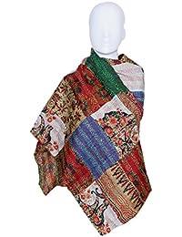 Indiweaves Vintage Silk Hand Quilted Kantha Hand Work Dupattas Reversible Scarves Scarf Patchwork Multicolor(80200... - B0767KH65J