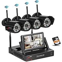 SWINWAY WLAN Überwachungskamera Set, Drahtlose Heimüberwachung Kamera Kit mit 7inch Monitor NVR, mit 4 STK 960P Wasserfeste IP Kameras mit 48 IR LEDs Nachtsicht, Remote Zugriff, 1TB Festplatte