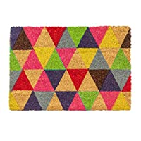 Nicola Spring Non-Slip Coir Door Mat - 60 x 90cm - Triangles - PVC Backed Welcome Mats Doormats