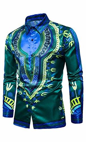 (SUProcer Herren Disco Shirt Herren Deluxe Disco Rüschenhemd Abendkleid)