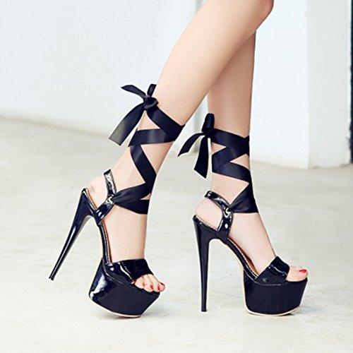 634002372355af YE Damen Extrem High Heels Plateau Stiletto Lack Sandalen Pumps mit  Schnürung Party 16cm Absatz Schuhe ...