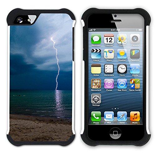 Graphic4You Blitz Blitzstrahl Sturm Hart + Weiche Kratzfeste Hülle Case Schale Tasche Schutzhülle für Apple iPhone SE / 5 / 5S Design #12