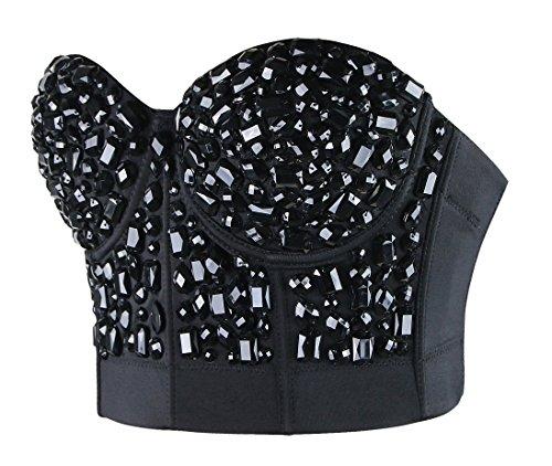 Charmian Women's Burlesque Fashion Beaded Sequins Push Up Crop Top Bustier Bra Noir