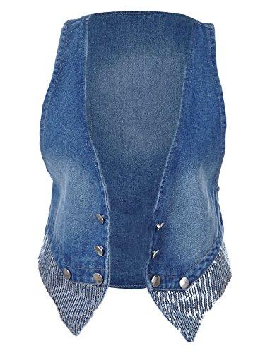 Coupe anna-kaci S/M bleu denim Cowboy Bouton pour femme W Détails à paillettes Medium Wash