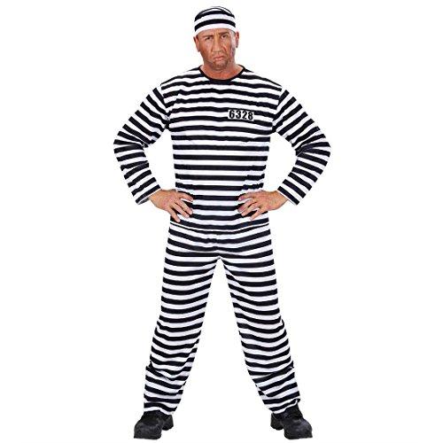 Amakando Sträfling Kostüm Gefangener Herrenkostüm XL (54) Häftling Faschingskostüm Herren Sträflingskostüm gestreift Ganove Bandit Knacki Knasti Karnevalskostüm Fasching Polizei Mottoparty Karneval