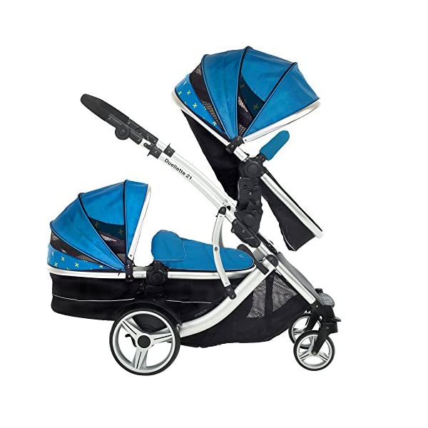 Kids Kargo Duellette 21 Combi Travel system Pram double pushchair NEW COLOUR RANGE! (French aqua plain bumpers) Kids Kargo Demo video please see link https://www.youtube.com/watch?v=X_tEcnQ8O8E%20 Suitability Newborn - 15kg (approx 3 yrs). Carrycot converts to seat unit incl mattress Carrycot & car seats fit in top or bottom position. Compatible car seats; Kidz Kargo 0+, Britax Babysafe 0+ (no adapters needed) or Maxi Cosi adaptors 7