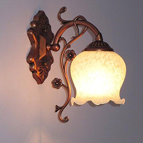 Rosso antico bronzo metallo lampade da parete comodino corridoio Biancaneve punto vetro paralume camera da letto balcone luci da parete