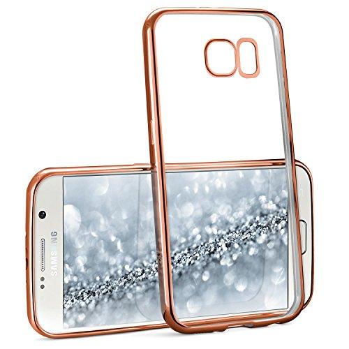Caso Chrome per Samsung Galaxy S6 | Custodia in silicone trasparente con effetto metallico | Thin Sacchetto di protezione cellulare OneFlow | Backcover in