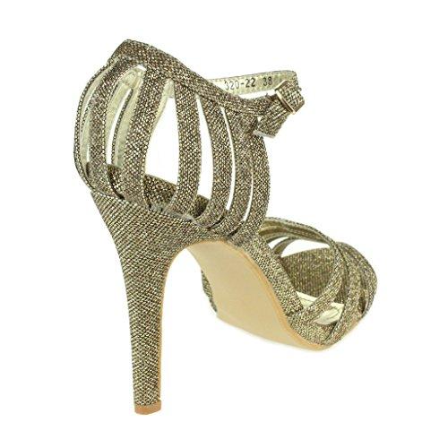 Femmes Dames Sparkly Soir Mariage Fête Bal de promo De mariée Haute Talon Sangle de cheville Des sandales Chaussures Taille Marron