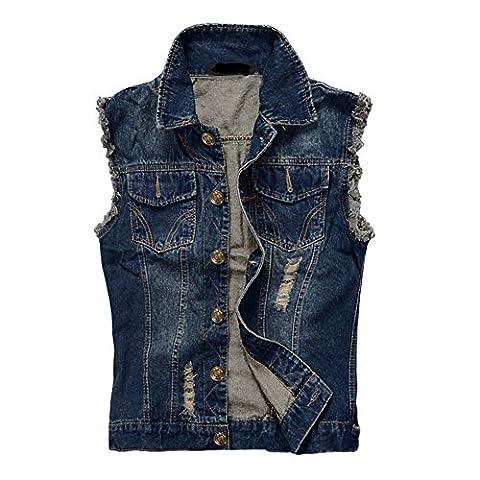 Zicac Herren Weste Slim Fit Beiläufige Cowboy Weste im Modern Design Jeansweste (Asien L - EU XS, Blau)