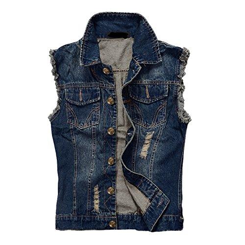 Zicac Herren Weste Slim Fit Beiläufige Cowboy Weste im Modern Design Jeansweste (Asien 3XL - EU L, Blau) (Cowboy Slim-fit-jeans)