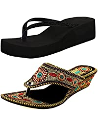 Ziaula Womens And Girls Wedges Heel Sandal Combo Pack