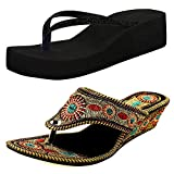 #7: Ziaula Womans And Girls Wedges Heel Sandal Combo Pack