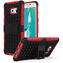 Galaxy S6 Edge+ Plus Funda - MoKo Heavy Duty Rugged Dual Layer Armor with Kickstand Protective Cover para Samsung Galaxy S6 Edge + 2015 Smartphone, Rojo (Will Not Fit Galaxy S6 Edge)