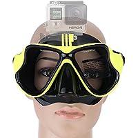 YEESAM Swim, immersioni maschera GoPro con supporto compatibile con GoPro Hero 1233+ 4Sessione maschera, nuoto, snorkeling–Go Pro–chiara bicchieri o con ricetta snorkeling prescrizione sehstärke Mass Ange mano, Gelb, -6.0