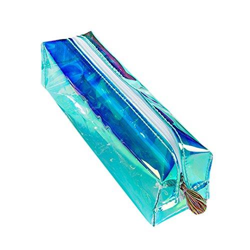 kingko® Colorful Hologramm transparent Bleistift Case Stationery Pen Halterung Kosmetiktasche klein kreide Box, Einheitsgröße grün -