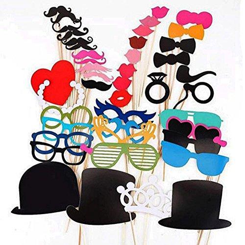 ipalmay Photo Booth Props DIY Kit, Papier Prop auf einem Bamboo Stick für aufnehmen Lustige Fotos auf Geburtstag, Hochzeit,, Ihre geschäftstreffen, Verkleiden Kostüm Zubehör mit Schnurrbart, Hüten, Brillen, Lippen, (Kostüme Lustige Diy)