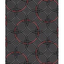 Rasch Bond Street 2015 726602 - Papel pintado, diseño de círculos, color negro y rojo